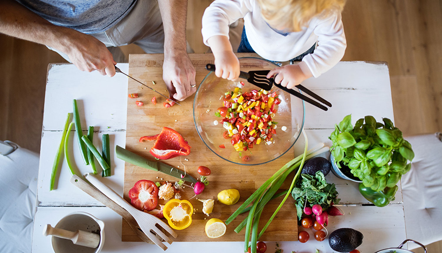 healthy foods in kitchen with toddler