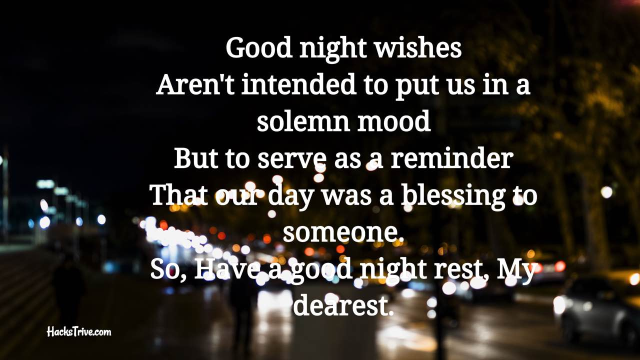 Goodnight poems him sweet for Sweet Romantic