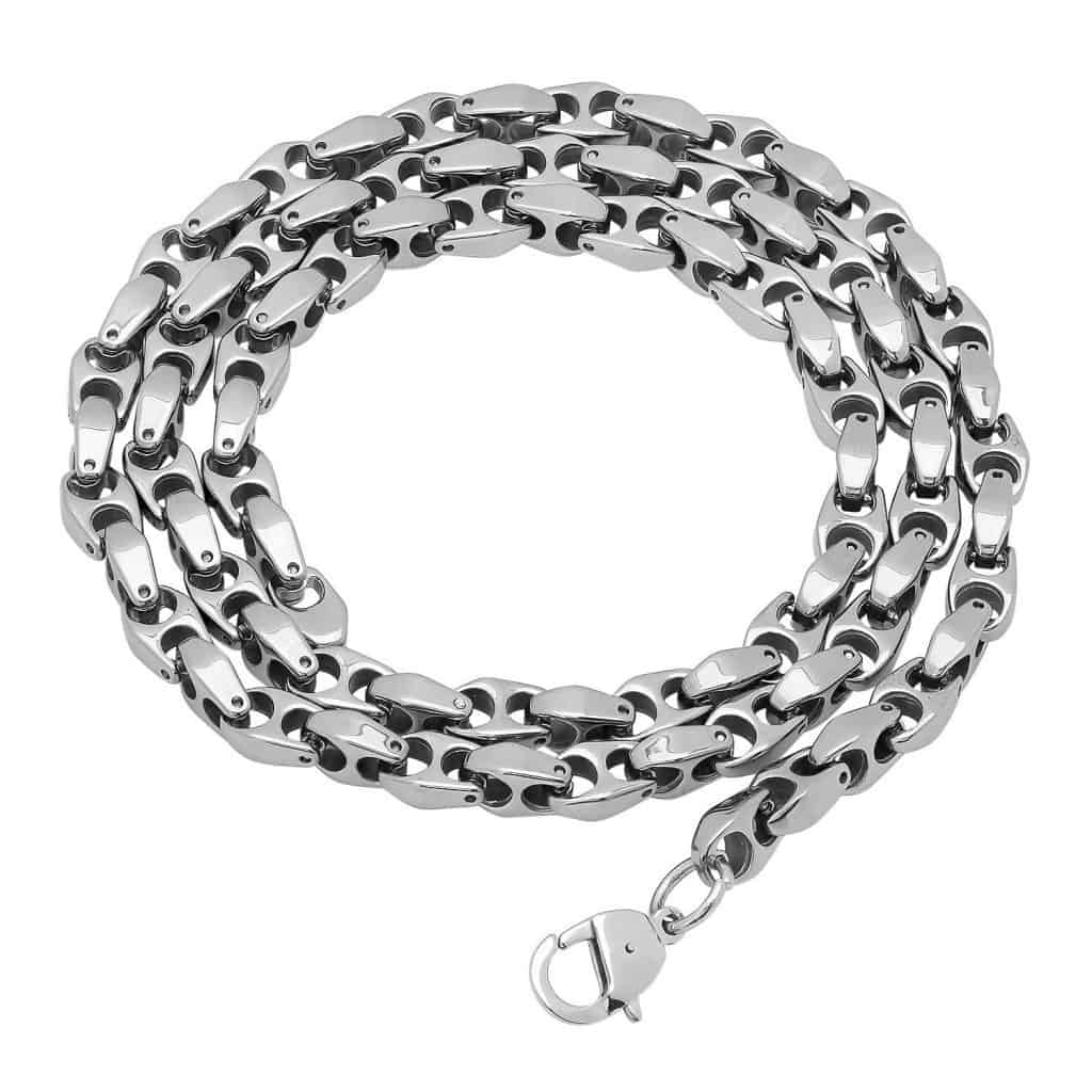 Angled Puffed Mariner Link Chain Necklace
