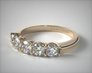 five stone ring with equal diamonds