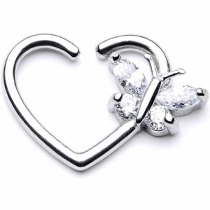heart ring with butterfly daith Piercing