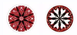 hearts and arrows pattern on a round shape diamond