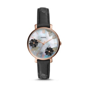 leather black band watch