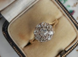 Victorian old mine cut engagement ring