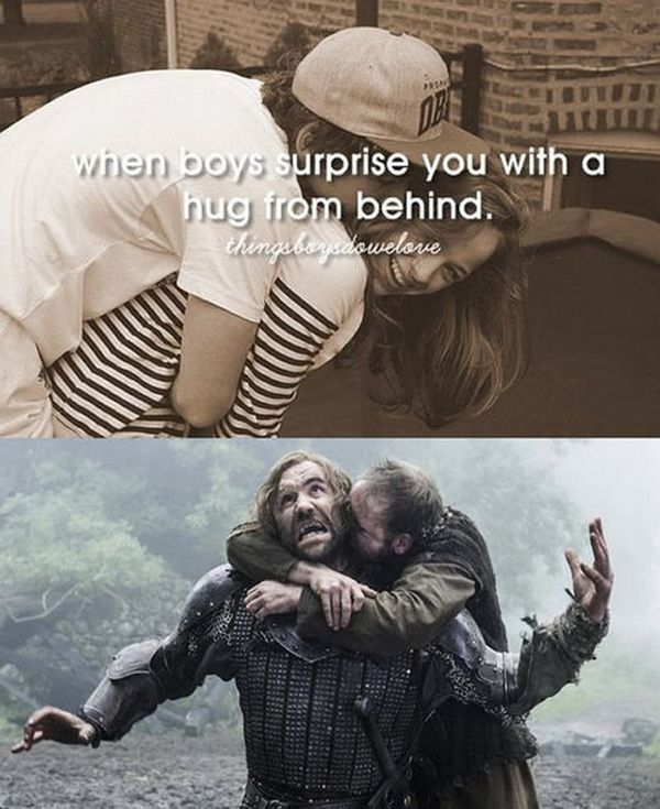 When boys surprise you with a hug from behind.