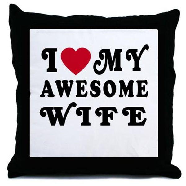 I Love My Awesome Wife Throw Pillow