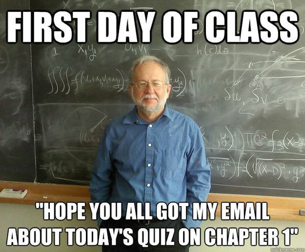 first day of class meme