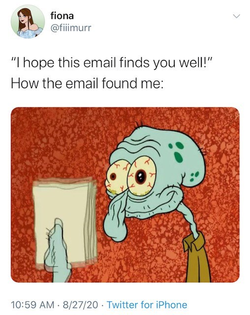 hope this email finds you well squidward memes