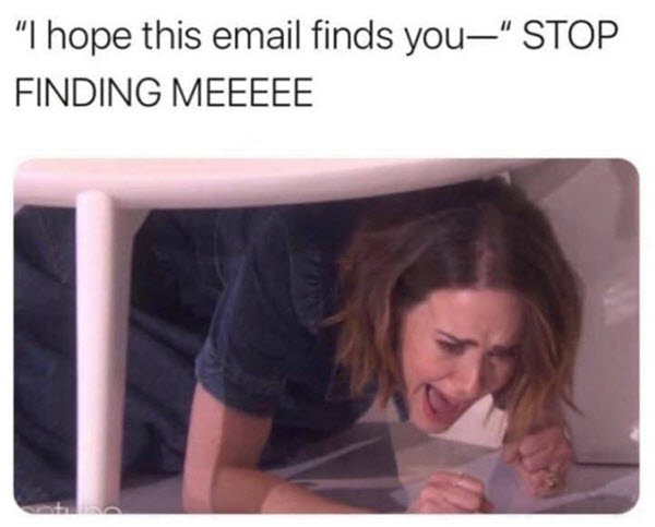 hope this email finds you well stop finding me memes