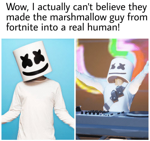 marshmallow meme marshmalow guy from fortnite into a real human