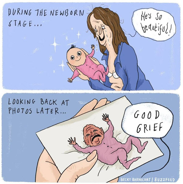 new baby meme during the newborn stage then looking back at photos later